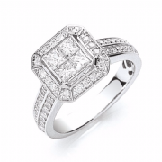 18ct white gold Four stone princess cut centre 1ctw diamond ring